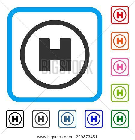 Helicopter Landing icon. Flat gray pictogram symbol inside a light blue rounded square. Black, gray, green, blue, red, orange color versions of Helicopter Landing vector. Designed for web and app UI.