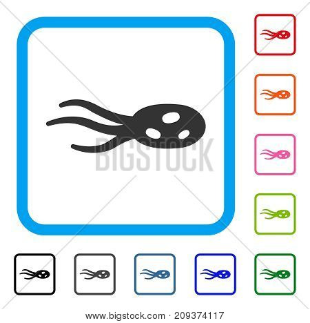 Intrude Microorganism icon. Flat gray pictogram symbol in a light blue rounded squared frame. Black, gray, green, blue, red, orange color variants of Intrude Microorganism vector.