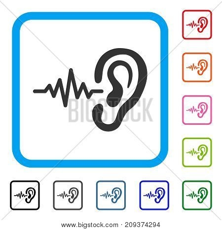 Listen icon. Flat gray iconic symbol inside a light blue rounded rectangle. Black, gray, green, blue, red, orange color additional versions of Listen vector.