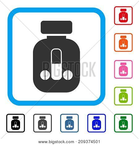 Male Medicine icon. Flat gray iconic symbol inside a light blue rounded squared frame. Black, gray, green, blue, red, orange color versions of Male Medicine vector. Designed for web and app UI.