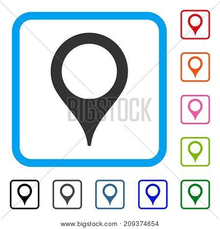 Map Marker icon. Flat grey pictogram symbol in a light blue rounded rectangle. Black, gray, green, blue, red, orange color additional versions of Map Marker vector.
