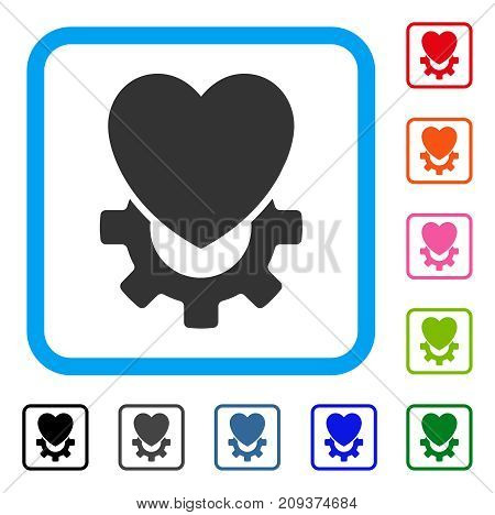 Mechanical Heart icon. Flat grey pictogram symbol inside a light blue rounded frame. Black, gray, green, blue, red, orange color versions of Mechanical Heart vector.