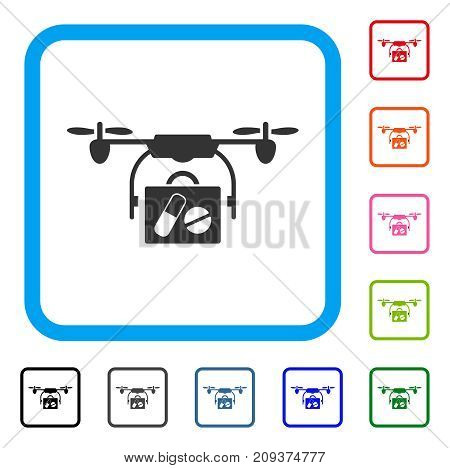 Medical Drone Shipment icon. Flat gray pictogram symbol inside a light blue rounded rectangle. Black, gray, green, blue, red, orange color variants of Medical Drone Shipment vector.