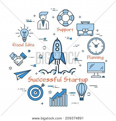 Vector linear blue round concept of Successful Startup. Rising rocket as business startup and good progress. Icons of office worker, technical support, time, teamwork and computer