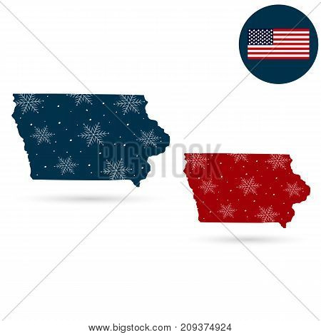 Map of the U.S. state of Iowa on a white background. American flag star.