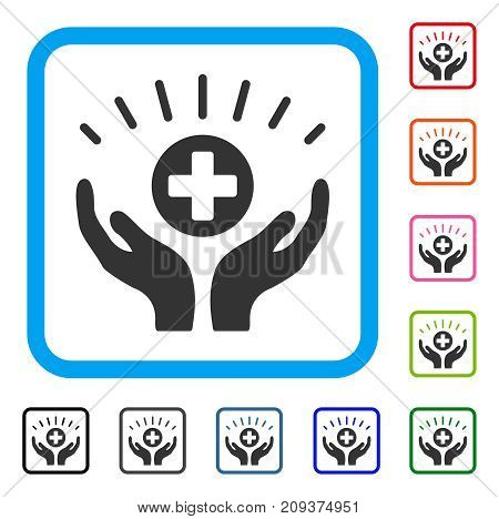 Medical Prosperity icon. Flat gray pictogram symbol in a light blue rounded square. Black, gray, green, blue, red, orange color versions of Medical Prosperity vector.