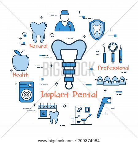 Vector linear blue round concept of Implant Dental. Denture in the center. Line icons of tooth, dentist, floss, office, tools and instruments