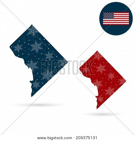 Map of the U.S. District of Columbia. Merry christmas and a happy new year