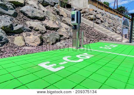 An e-car recharging spot for ecological auto transport