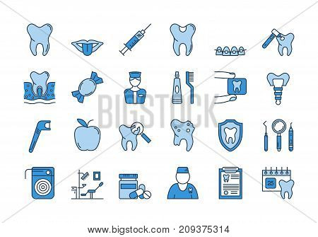 Vector set of linear outline icons. Dental care isolated pictographs. Teeth, tools, treatment, professional health care and orthodontics, implants in dark and light blue colors