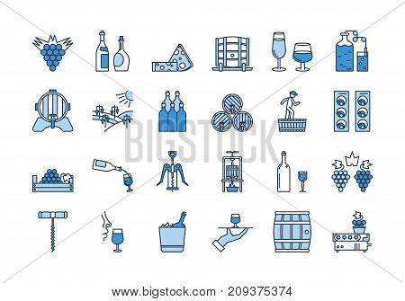 Vector set of colored 24 linear outline light and dark blue icons. Wine production and service isolated pictographs. Viticulture, winemaking and storage, tools and equipment