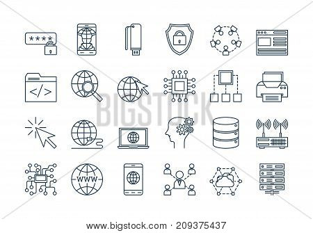 Vector set of linear outline icons. Internet technology isolated pictographs. Globe, router, device, server and users