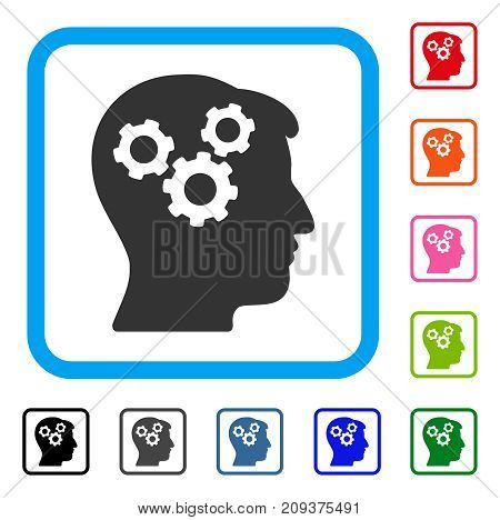 Mind Gears icon. Flat gray iconic symbol inside a light blue rounded rectangular frame. Black, gray, green, blue, red, orange color versions of Mind Gears vector. Designed for web and software UI.