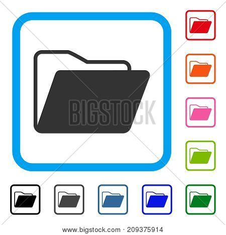 Open Folder icon. Flat grey pictogram symbol in a light blue rounded square. Black, gray, green, blue, red, orange color variants of Open Folder vector. Designed for web and application UI.