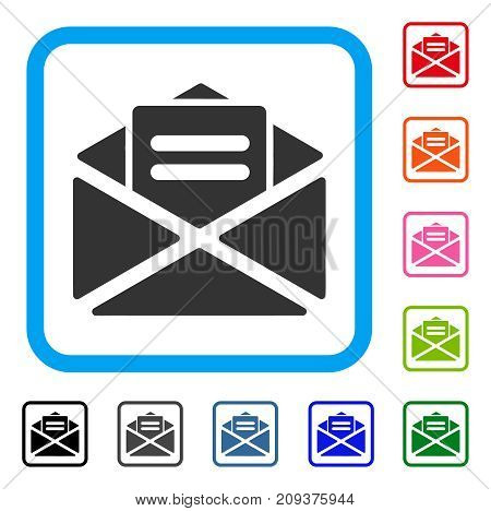 Open Mail icon. Flat gray pictogram symbol inside a light blue rounded square. Black, gray, green, blue, red, orange color versions of Open Mail vector. Designed for web and software user interface.