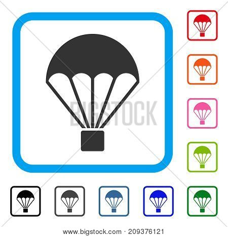 Parachute icon. Flat grey iconic symbol inside a light blue rounded rectangular frame. Black, gray, green, blue, red, orange color variants of Parachute vector.