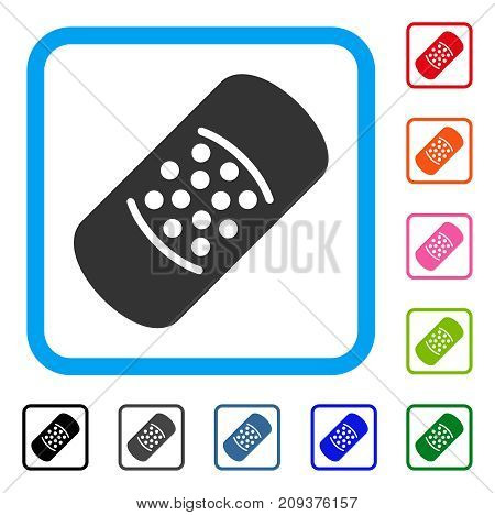 Patch icon. Flat gray pictogram symbol in a light blue rounded rectangle. Black, gray, green, blue, red, orange color additional versions of Patch vector. Designed for web and software user interface.
