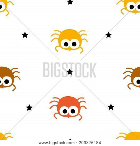 Happy Halloween pattern with color spiders and stars on white background. Vector seamless ornament.