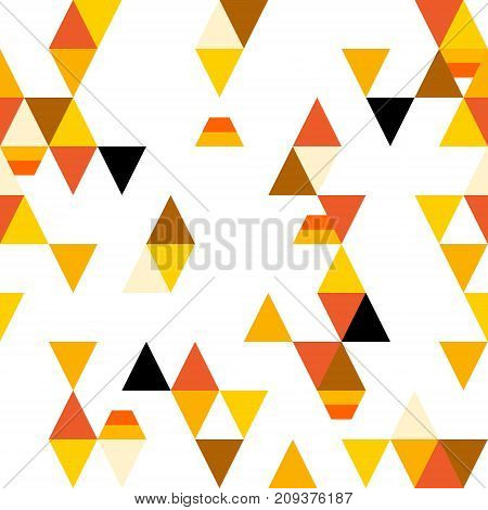 Abstract seamless pattern with colorful triangles and stylized candy corn. Vector background.