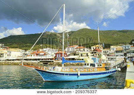 Paxos Corfu Greece - October 1 2017 : Marco Polo tourist ship in Paxos harbour