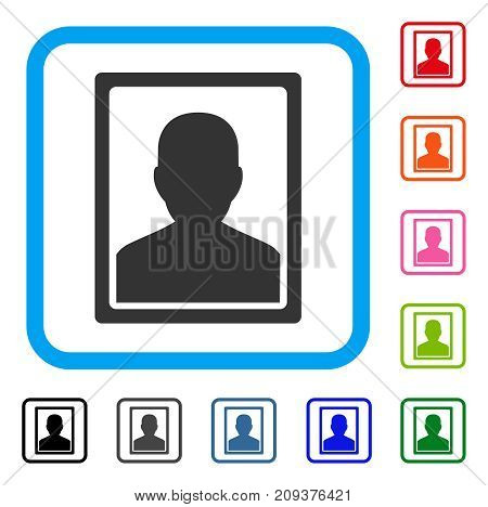 Patient Portrait icon. Flat grey iconic symbol in a light blue rounded rectangular frame. Black, gray, green, blue, red, orange color versions of Patient Portrait vector.