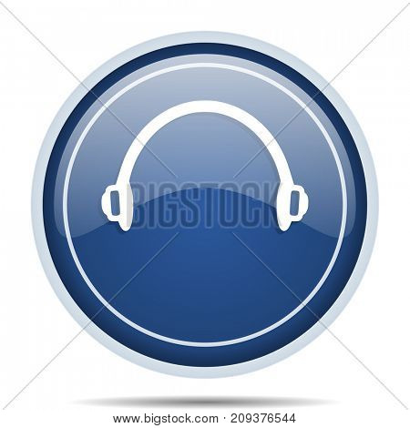 Headphones blue round web icon. Circle isolated internet button for webdesign and smartphone applications.