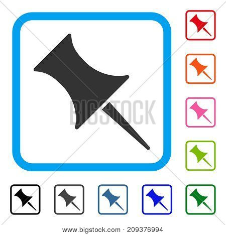 Pin icon. Flat gray pictogram symbol inside a light blue rounded rectangular frame. Black, gray, green, blue, red, orange color additional versions of Pin vector. Designed for web and app interfaces.