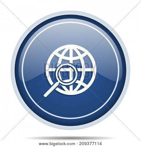 Search blue round web icon. Circle isolated internet button for webdesign and smartphone applications.