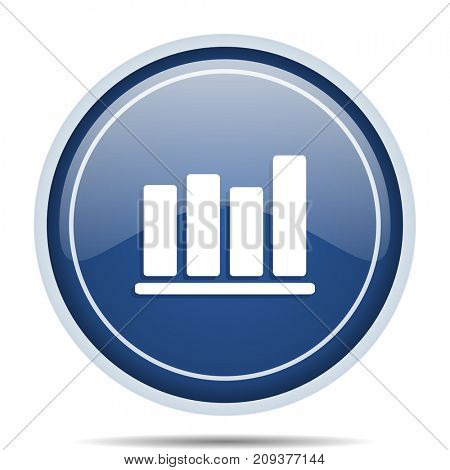 Bar chart blue round web icon. Circle isolated internet button for webdesign and smartphone applications.