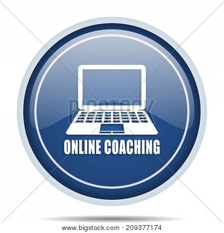 Online coaching blue round web icon. Circle isolated internet button for webdesign and smartphone applications.