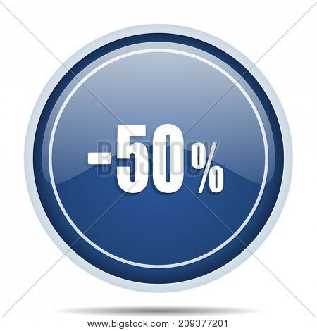 50 percent sale retail blue round web icon. Circle isolated internet button for webdesign and smartphone applications.