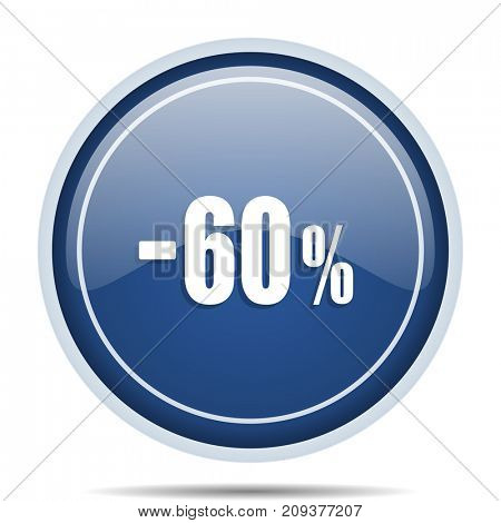 60 percent sale retail blue round web icon. Circle isolated internet button for webdesign and smartphone applications.