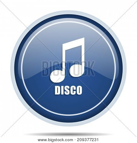 Disco music blue round web icon. Circle isolated internet button for webdesign and smartphone applications.