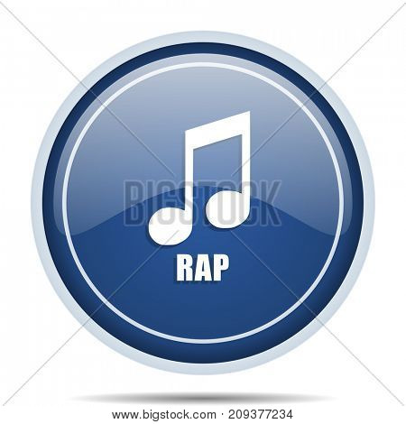 Rap music blue round web icon. Circle isolated internet button for webdesign and smartphone applications.
