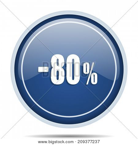 80 percent sale retail blue round web icon. Circle isolated internet button for webdesign and smartphone applications.