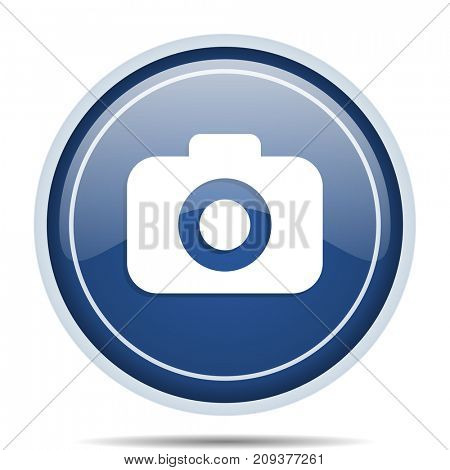 Photo camera blue round web icon. Circle isolated internet button for webdesign and smartphone applications.