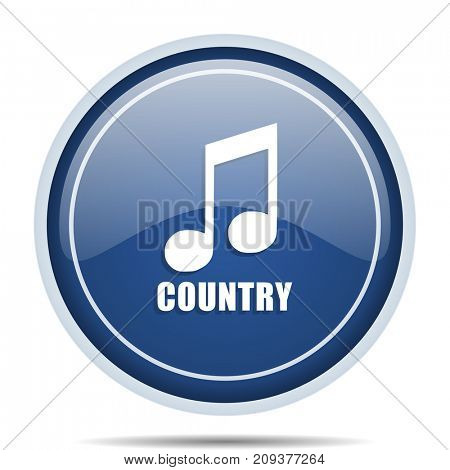 Music country blue round web icon. Circle isolated internet button for webdesign and smartphone applications.