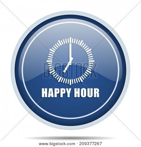 Happy hour blue round web icon. Circle isolated internet button for webdesign and smartphone applications.