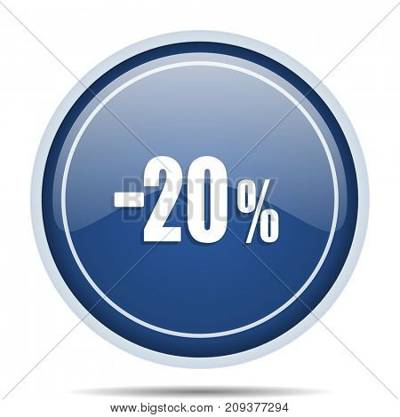 20 percent sale retail blue round web icon. Circle isolated internet button for webdesign and smartphone applications.