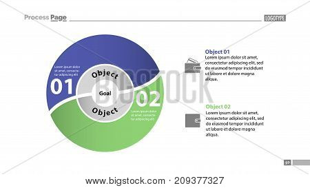 Two options process chart slide template. Business data. Step, circle, design. Creative concept for infographic, presentation, report. Can be used for topics like marketing, production, teamwork.