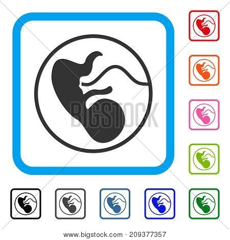 Pregnancy icon. Flat gray pictogram symbol inside a light blue rounded squared frame. Black, gray, green, blue, red, orange color variants of Pregnancy vector.