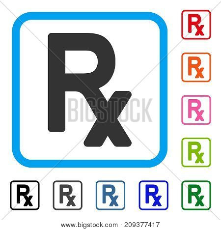 Prescription Symbol icon. Flat grey pictogram symbol inside a light blue rounded rectangular frame. Black, gray, green, blue, red, orange color additional versions of Prescription Symbol vector.
