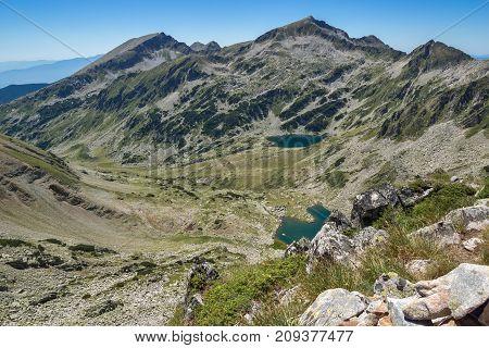 Amazing Landscape of Kamenitsa peak, Argirovo and Mitrovo lakes from Dzhano peak, Pirin Mountain, Bulgaria