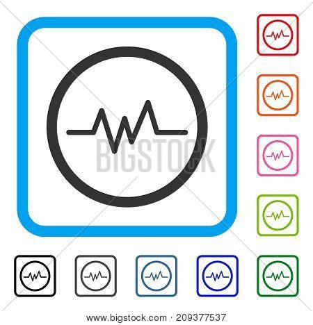Pulse Monitoring icon. Flat grey iconic symbol inside a light blue rounded rectangle. Black, gray, green, blue, red, orange color versions of Pulse Monitoring vector. Designed for web and software UI.
