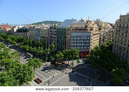 Barcelona historical intersection on Passeig de Gracia and Carrer de Provenca in Eixample District of Barcelona, Catalonia, Spain.