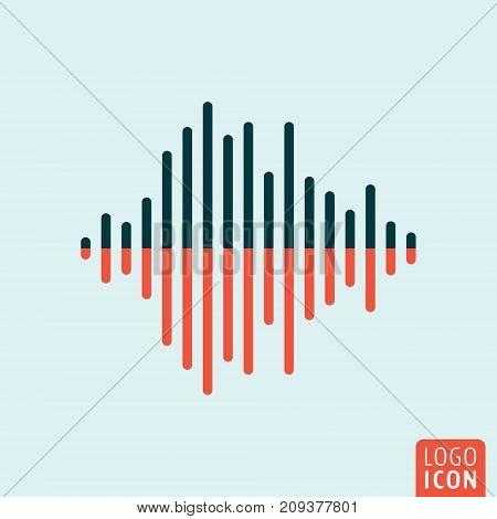 Sound wave icon. Two color audio equalizer symbol. Vector illustration.