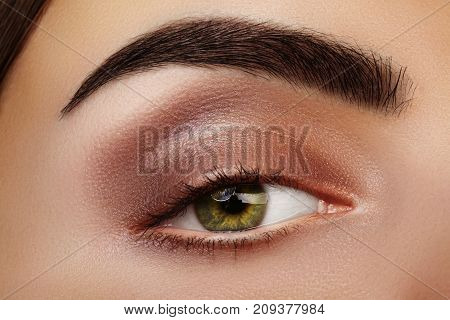Close-up Beauty Of Woman's Eye. Sexy Smoky Eyes Makeup With Brown Eyeshadows. Perfect Strong Shape O