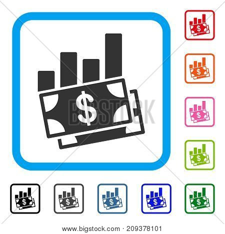 Sales Bar Chart icon. Flat grey pictogram symbol in a light blue rounded rectangular frame. Black, gray, green, blue, red, orange color versions of Sales Bar Chart vector.