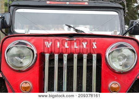 SALENTO COLOMBIA - JUNE 6: Closeup of a red Willys Jeep in Salento Colombia on June 6 2016