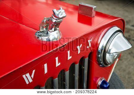 SALENTO COLOMBIA - JUNE 6: Bulldog hood ornament on a Willys Jeep in Salento Colombia on June 6 2016